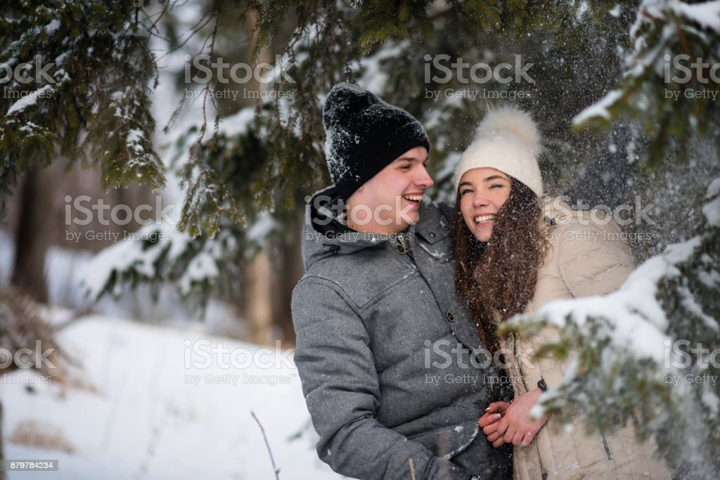 Couple covered with ice crystals stock photo
