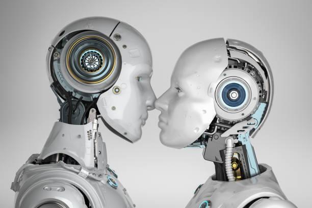 couple cyborg kiss stock photo