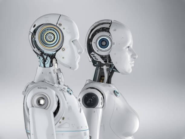 Couple cyborg or robot stock photo