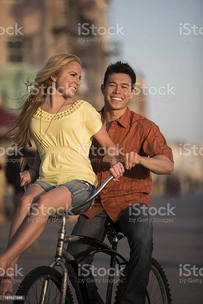 Couple Cycling royalty-free stock photo