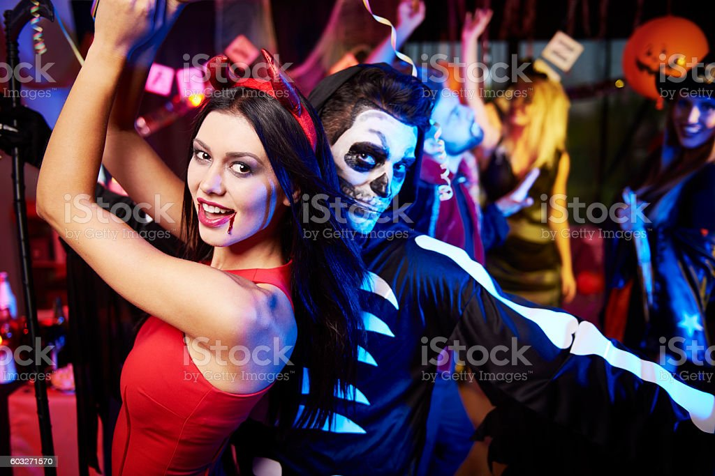 Couple dancing at the party stock photo