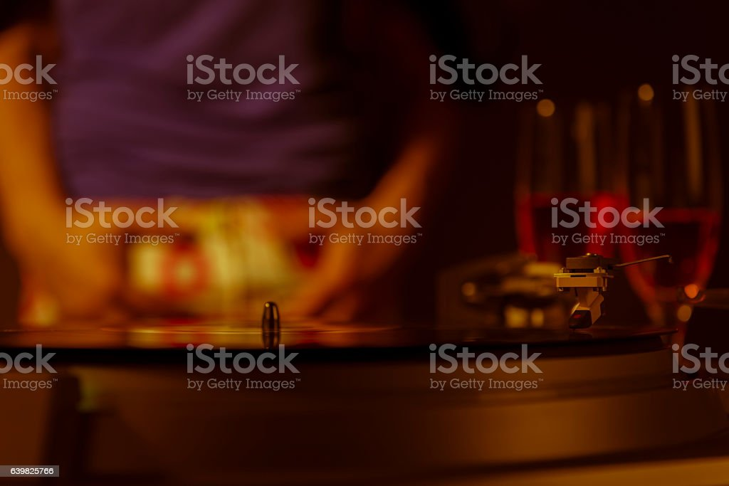 couple dancing slow at party stock photo