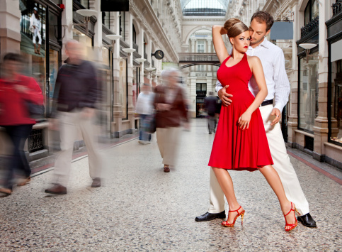 Couple Dancing Tango At City Street Stock Photo - Download Image Now