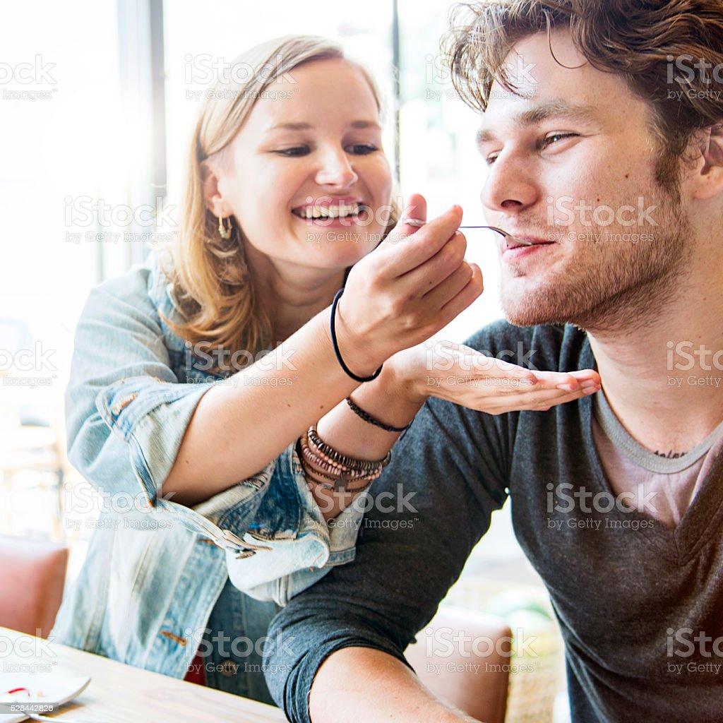 Couple Dating Dessert Restaurant Eating Concept stock photo