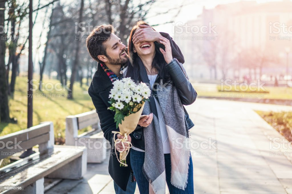 Couple dating in the city stock photo
