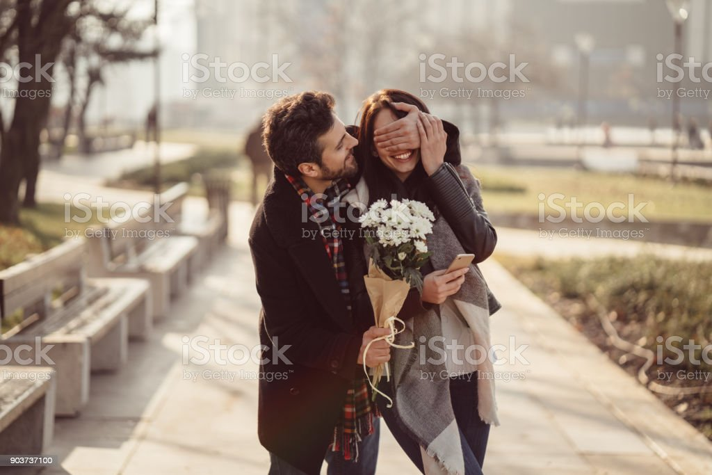 Couple dating on Valentine's day stock photo