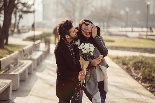 Couple Dating On Valentines Day Stock Photo - Download Image Now