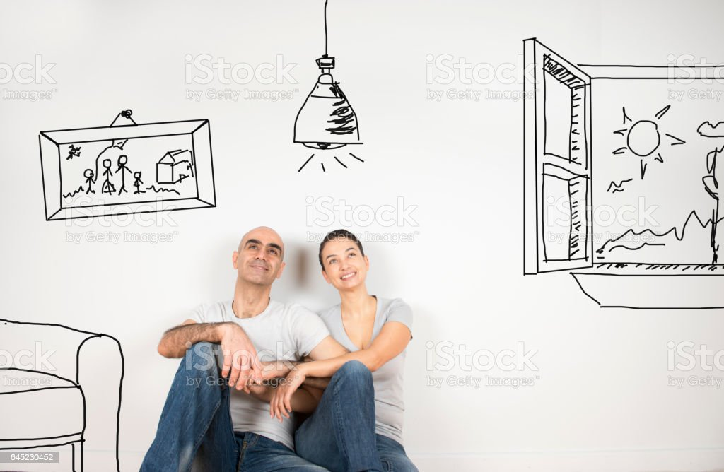Couple day dreaming stock photo