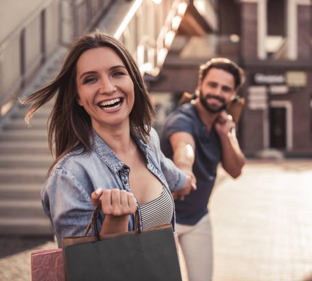 Couple doing shopping stock photo