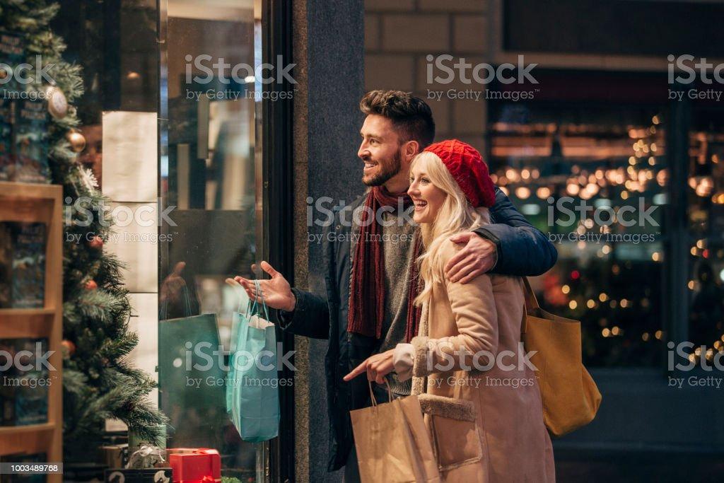 Couple Doing Some Window Shopping stock photo