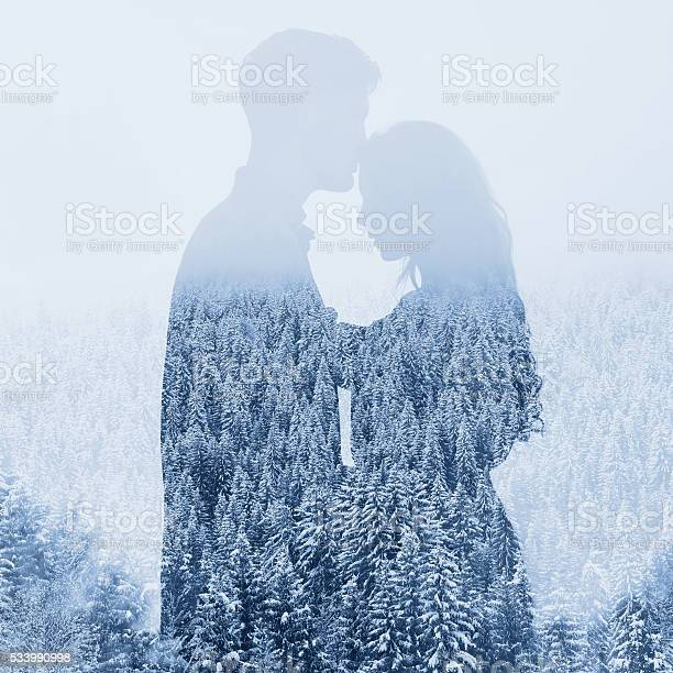 Photo of couple double exposure