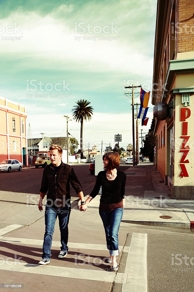 Couple Downtown royalty-free stock photo