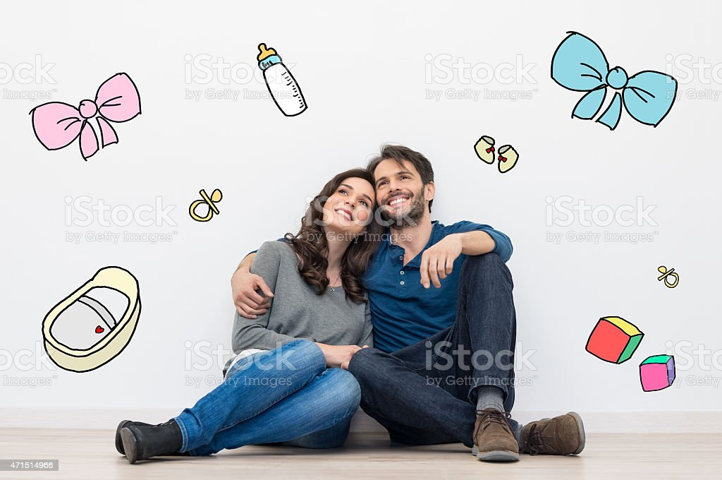 Couple dreaming a baby stock photo
