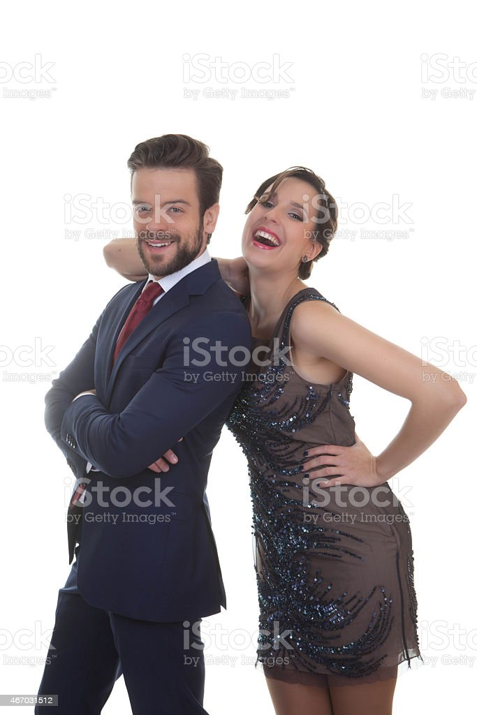 couple dressed up for party celebration stock photo