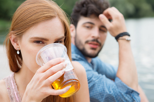 Couple Drinking Beer In Summer Stock Photo - Download Image Now