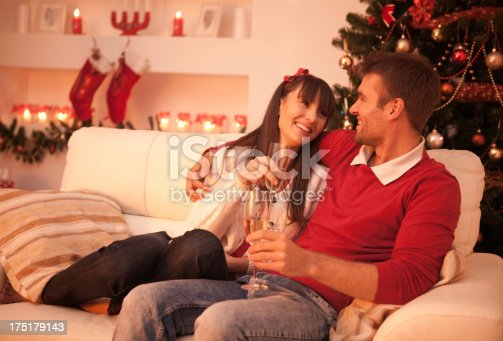 istock Couple drinking champagne. 175179143