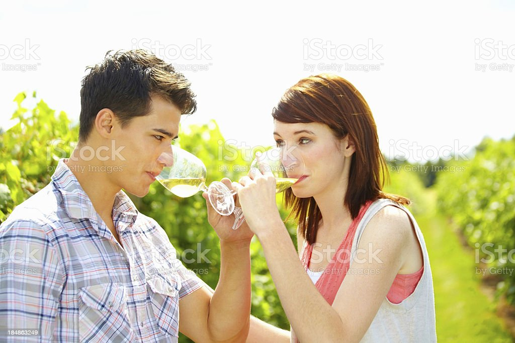 Couple drinking wine at a vineyard royalty-free stock photo