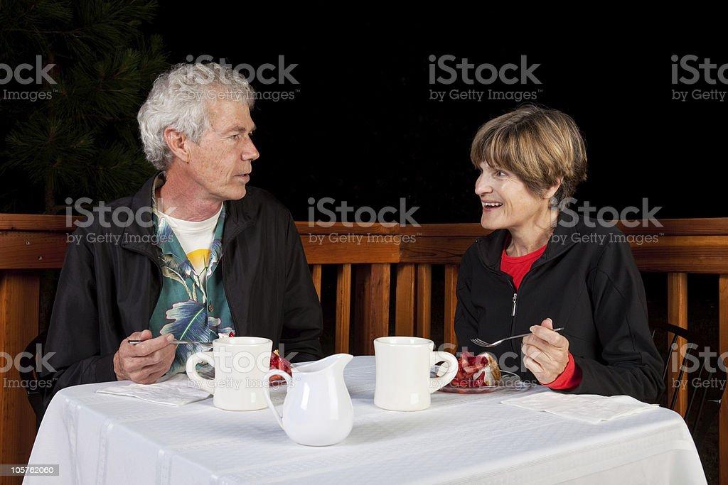 Couple Eating Desert royalty-free stock photo