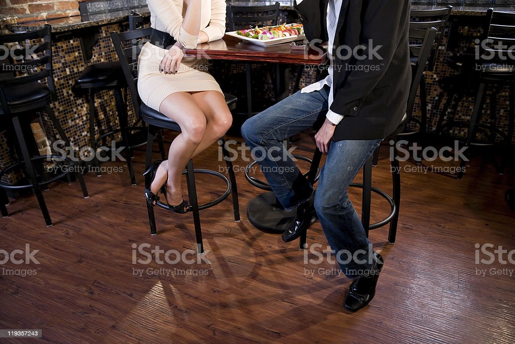 Couple eating sushi in Japanese restaurant royalty-free stock photo
