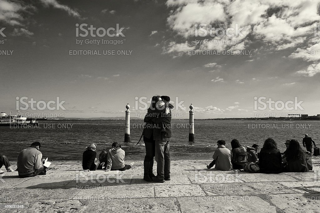Couple Embracing in Lisbon royalty-free stock photo