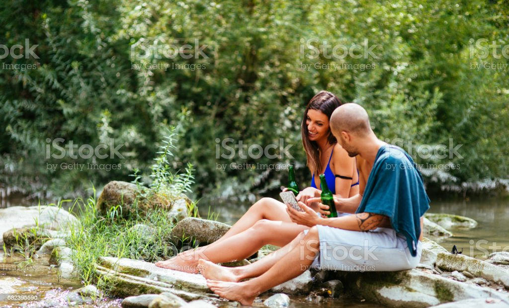 couple embracing on the river royalty-free stock photo