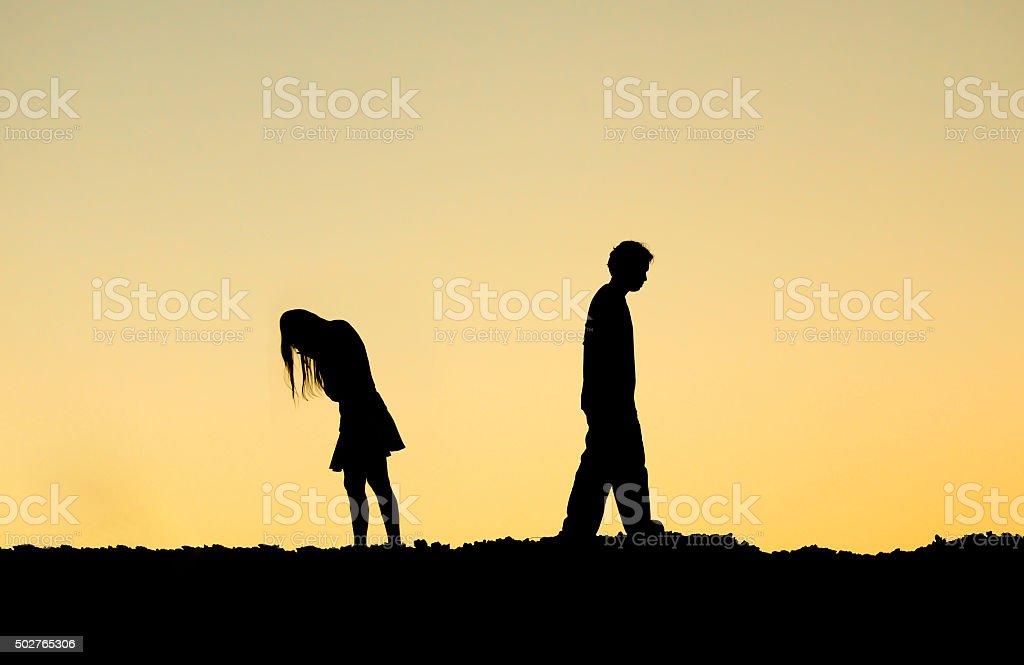 couple ending relationship stock photo