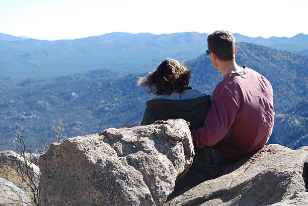 Couple Enjoying a Desert View stock photo