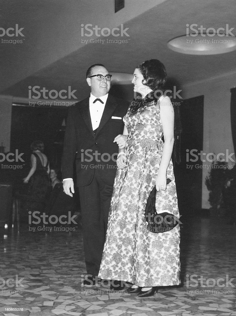 Couple Enjoying a Party in 1950.Black And White royalty-free stock photo