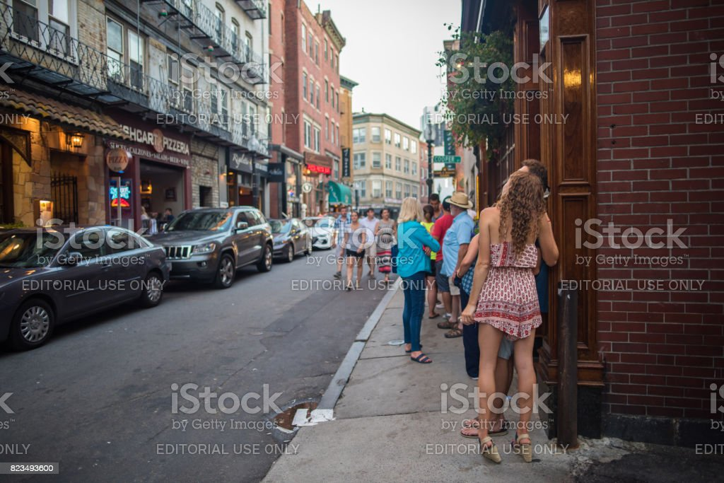 A couple enjoying an evening out in Boston stock photo