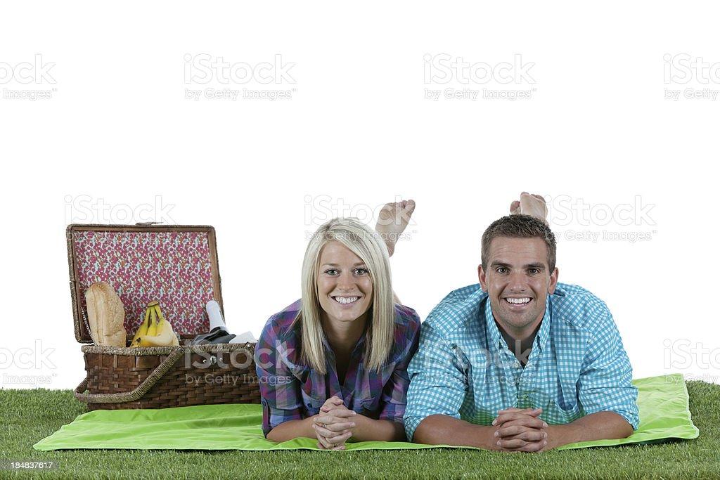 Couple enjoying at picnic stock photo