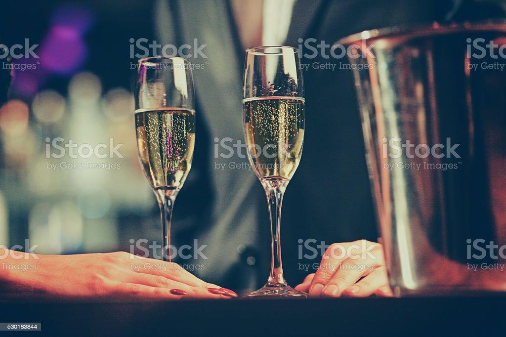 couple enjoying champagne stock photo