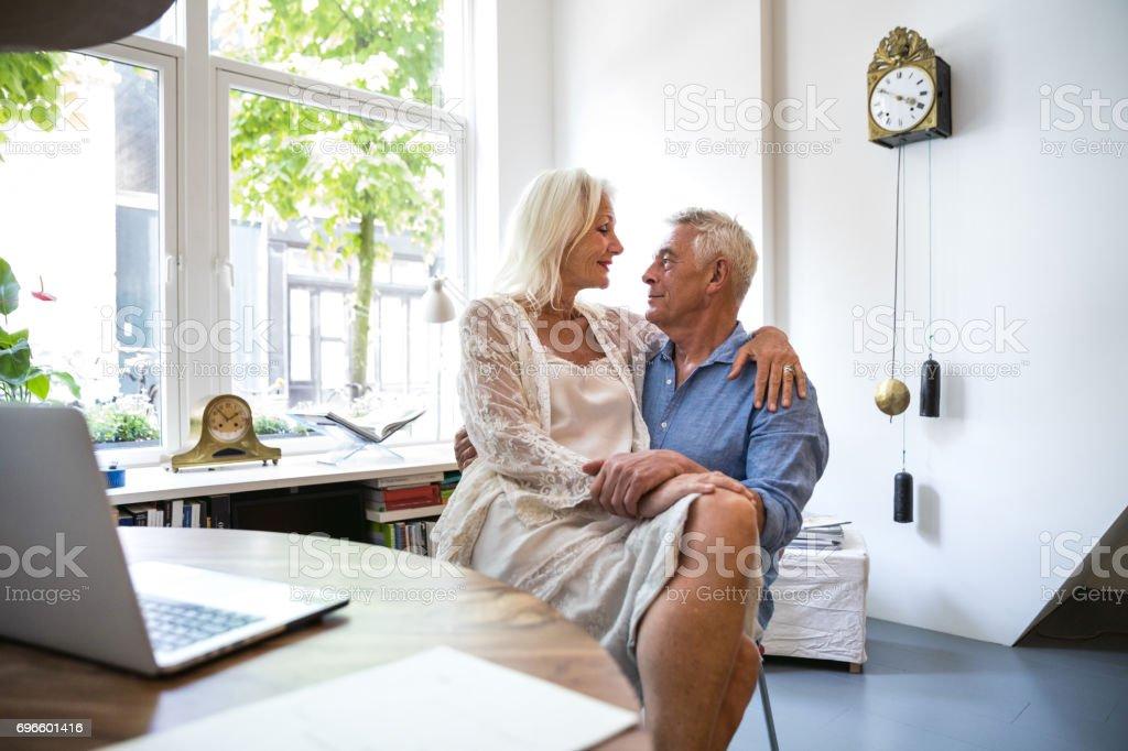 Couple enjoying daily life and retirement. Seniors at Home stock photo