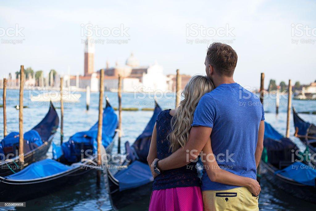 Couple enjoying evening in Venice stock photo