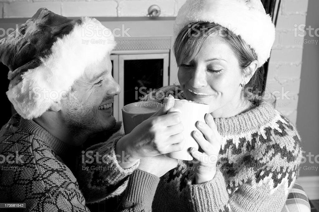 Couple enjoying hot chocolate royalty-free stock photo