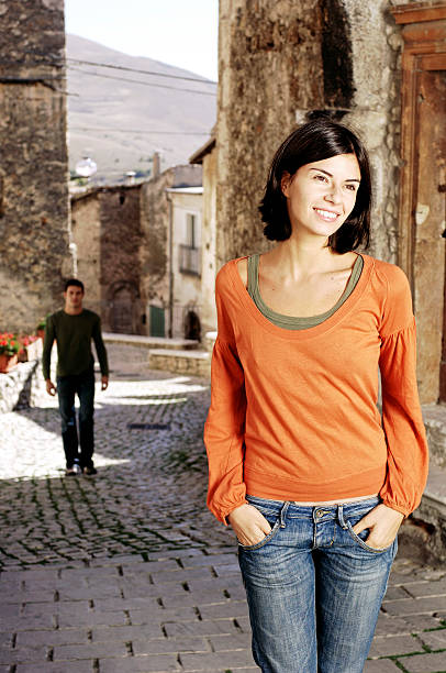 couple enjoying in a rural village stock photo