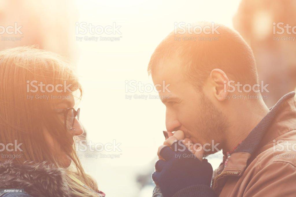Couple enjoying in urban surroundings. stock photo