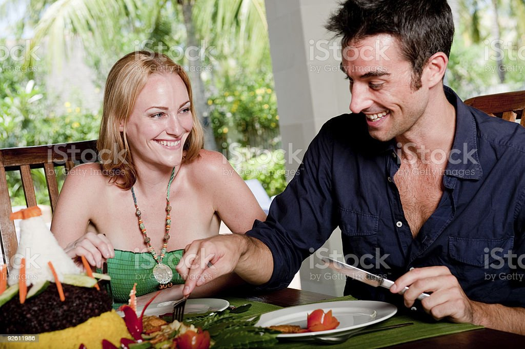 Couple Enjoying Lunch royalty-free stock photo