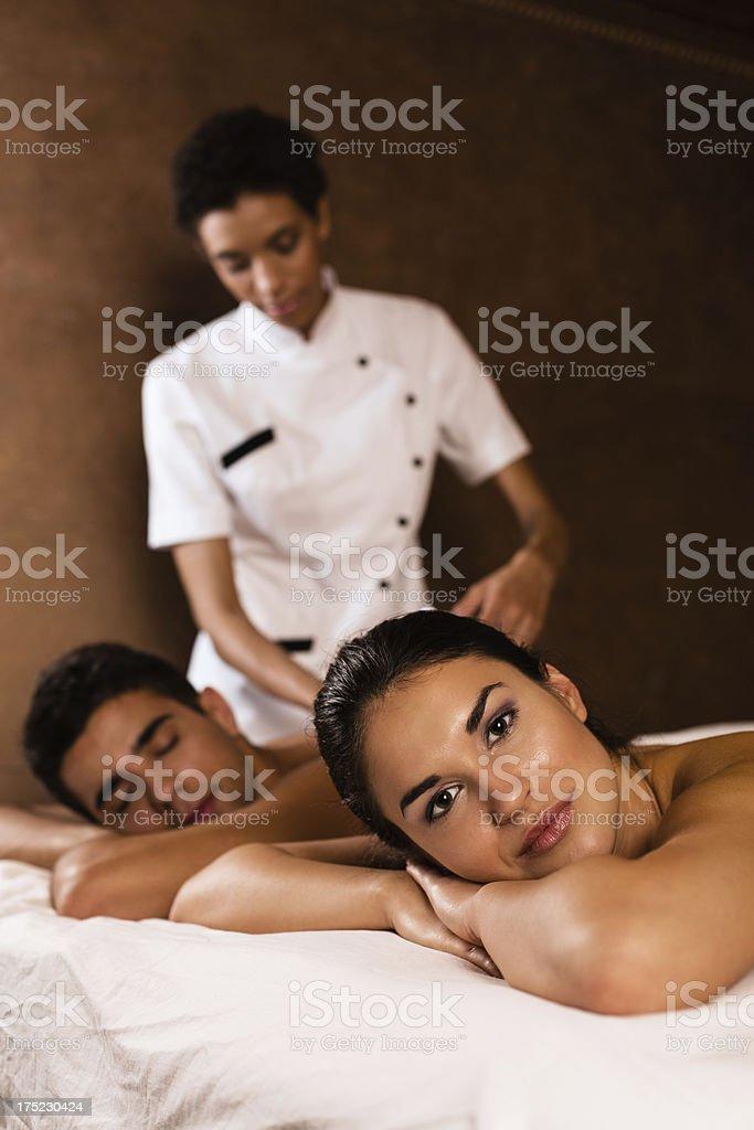 Couple enjoying massage stock photo