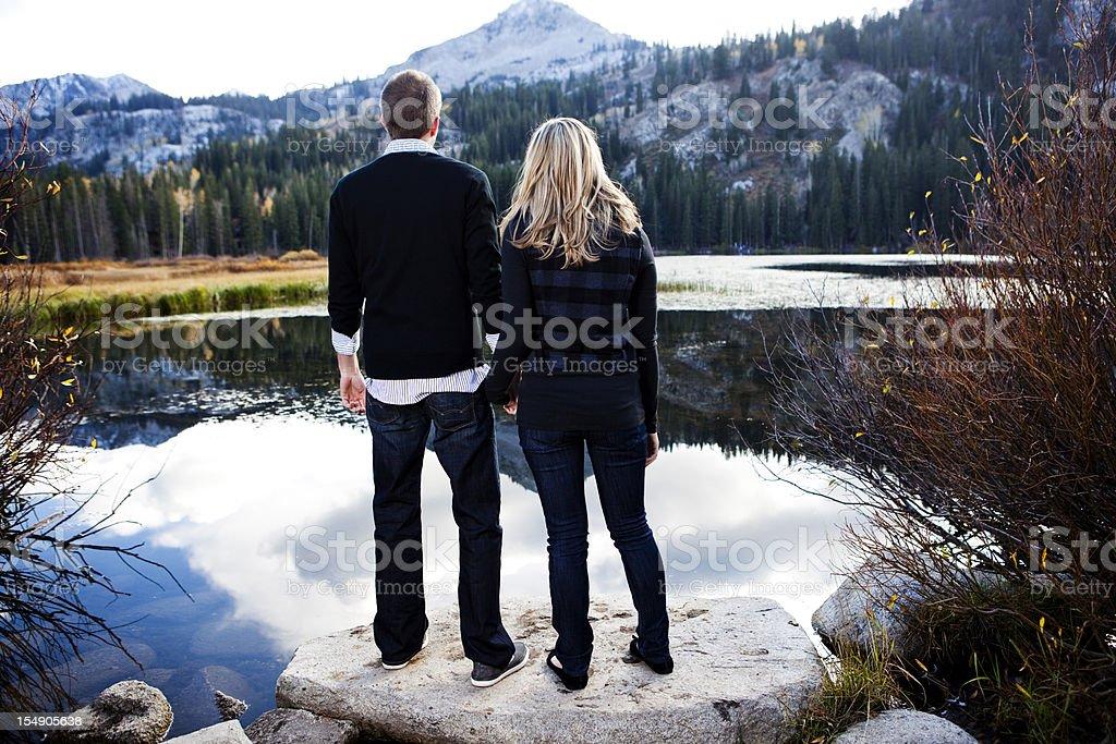 Couple Enjoying Mountain View royalty-free stock photo