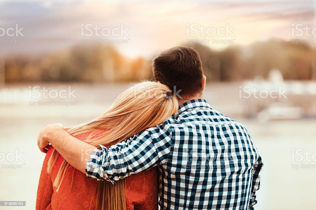 Couple enjoying outside stock photo