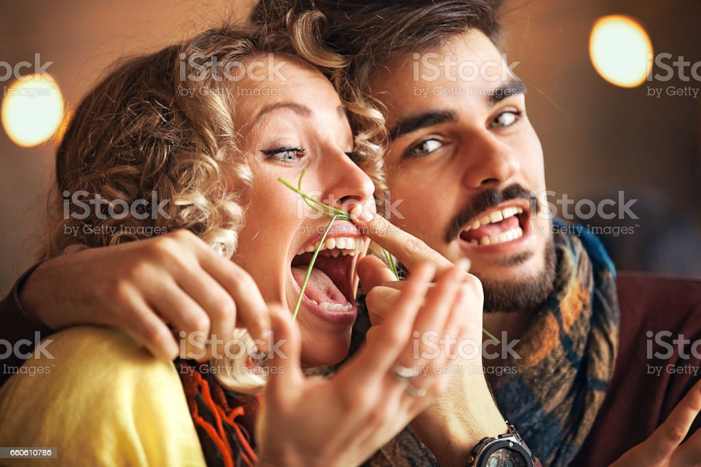 Couple enjoying restaurant royalty-free stock photo