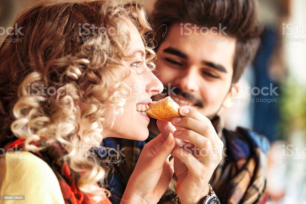 Couple enjoying restaurant royalty-free stock photo