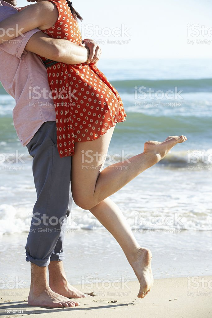 Couple Enjoying Romantic Beach Holiday royalty-free stock photo