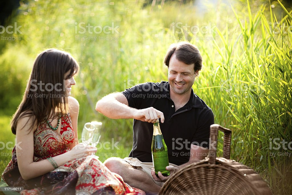 Couple Enjoying Romantic Picnic Outside with Wine Glasses royalty-free stock photo