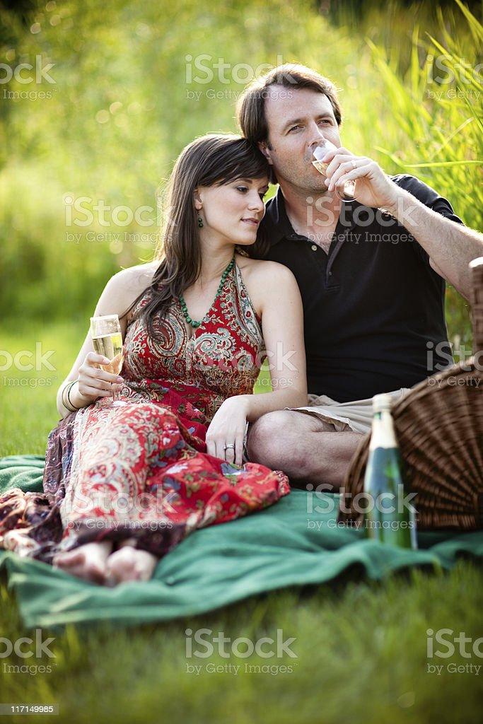 Couple Enjoying Romantic Picnic Outside with Wine Glasses royalty-free stock photo