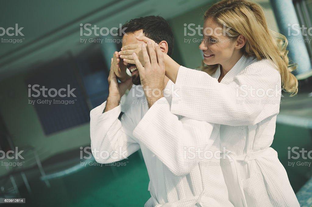 Couple enjoying spa wellness treatments ストックフォト