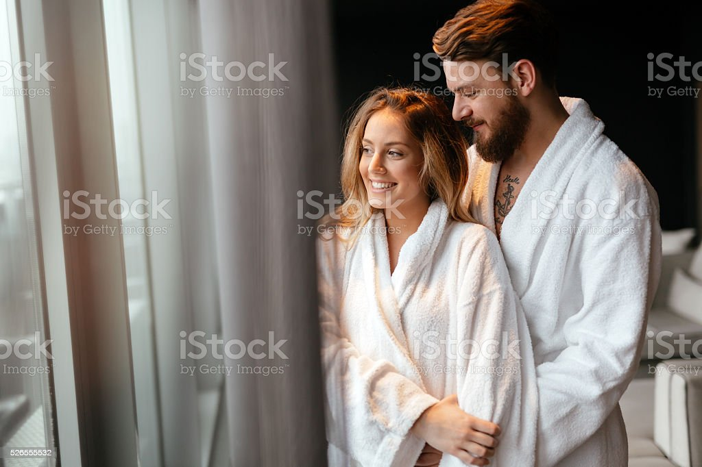Couple enjoying wellness weekend stock photo