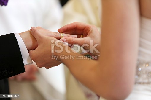 istock A couple exchanging vows and wedding rings 461887697