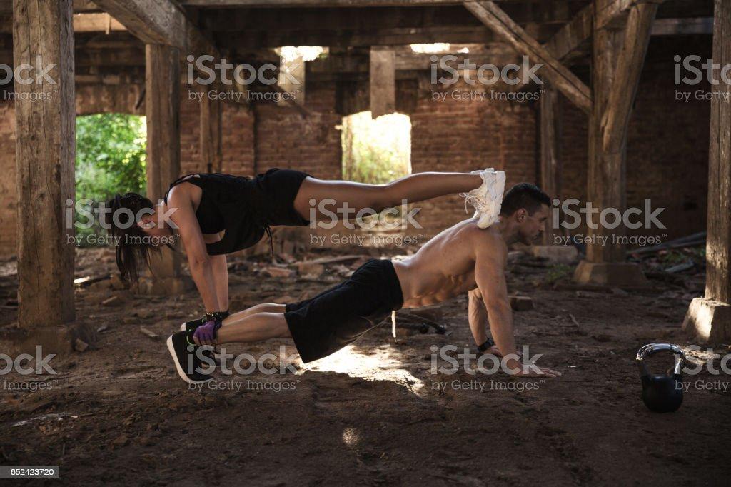 Couple Exercising Stock Photo - Download Image Now - iStock