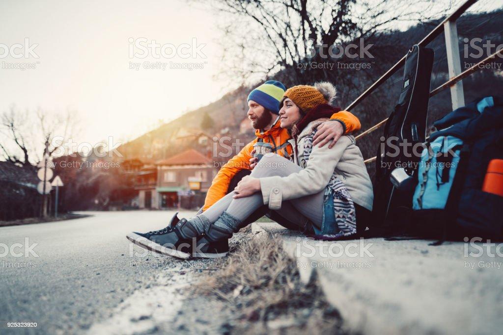 Couple exploring the countryside stock photo